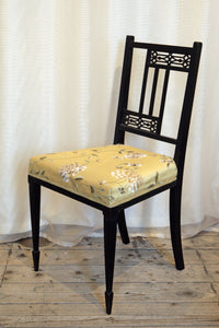 Aesthetic Movement Ebonised Side Chair With Embroidered Gold Silk Upholstery - The Glasgow Guild