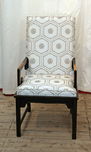 Hollywood Regency Chinese Style Armchair In Venetian Designer Fabric
