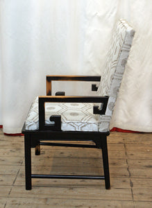 Hollywood Regency Chinese Style Armchair In Venetian Designer Fabric - The Glasgow Guild