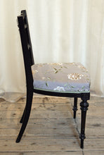 Load image into Gallery viewer, An ebonised aesthetic movement side chair in grey-mauve embroidered silk - The Glasgow Guild