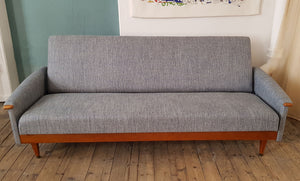 Mid Century sofa bed in Italian linen