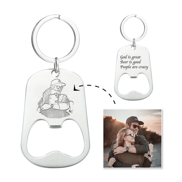 Custom Photo Engraved Keychain | Oktoberfest Beer Bottle Opener