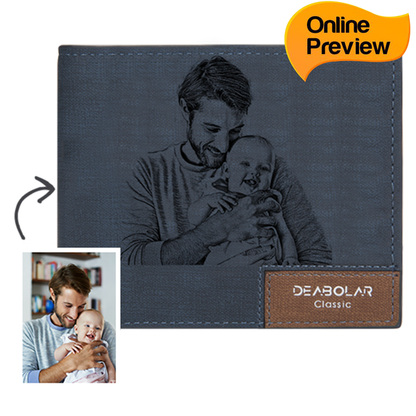 Men's Custom Photo Wallet - Blue Leather (Design Online & Preview)