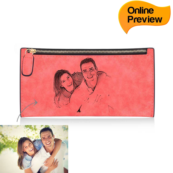 Women's Custom Inscription Photo Engraved Zipper Wallet - Red Leather (Design Online & Preview)