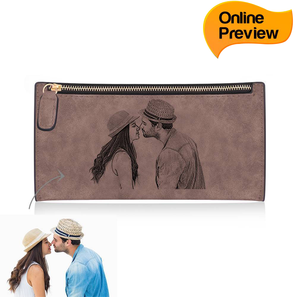 Women's Custom Inscription Photo Engraved Zipper Wallet - Brown Leather (Design Online & Preview)
