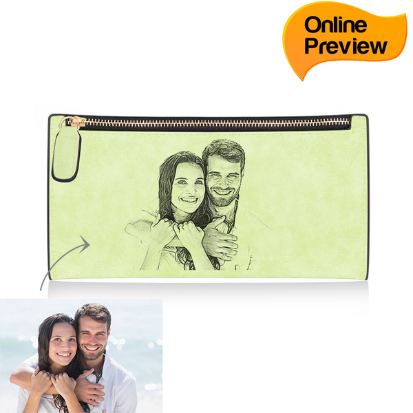 Women's Custom Inscription Photo Engraved Zipper Wallet - Light Green Leather (Design Online & Preview)