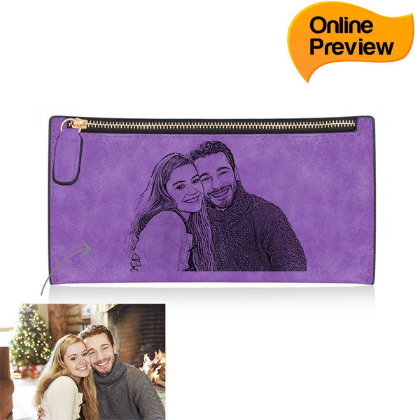 Women's Custom Inscription Photo Engraved Zipper Wallet - Purple Leather (Design Online & Preview)