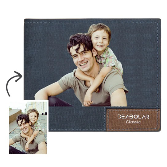 Father's Day Gift | Men's Bifold Short Custom Photo Wallet Blue Color Printing