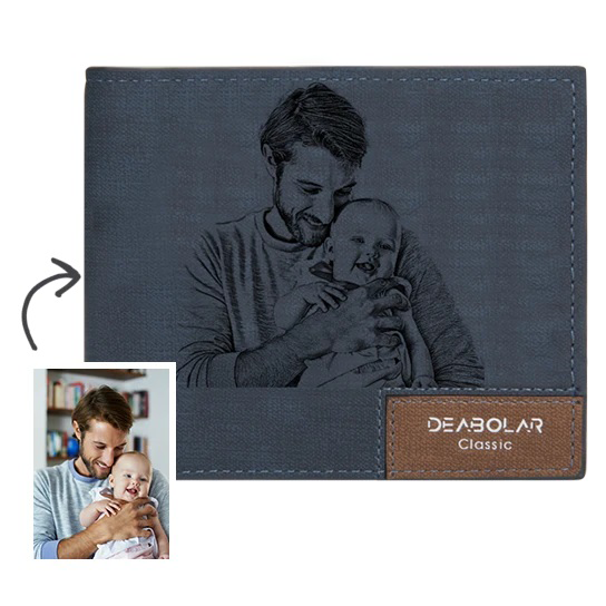 Men's Bifold Short Custom Photo Wallet Blue