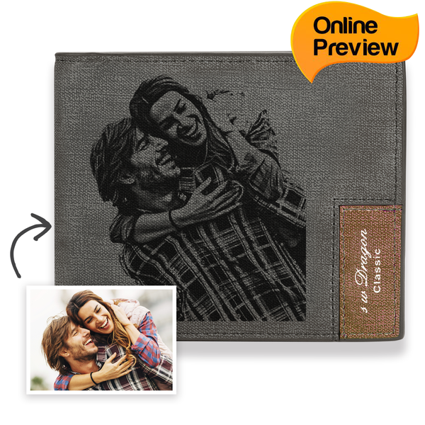 Men's Bifold Short Custom Photo Wallet Grey (Design Online & Preview)