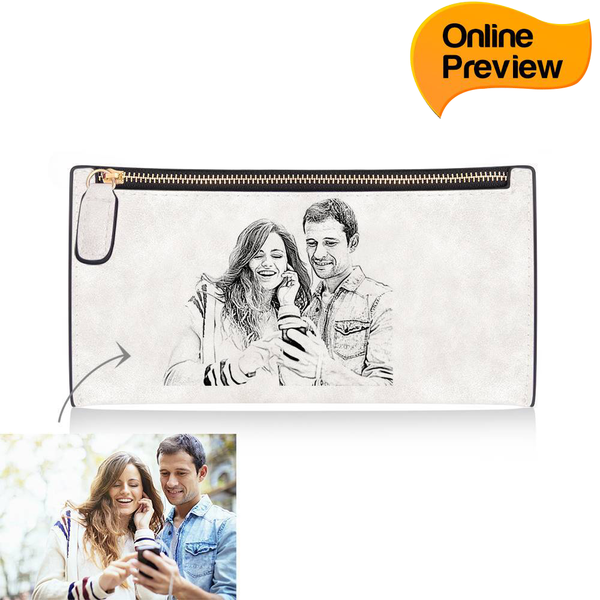 Women's Custom Inscription Photo Engraved Zipper Wallet - White Leather (Design Online & Preview)