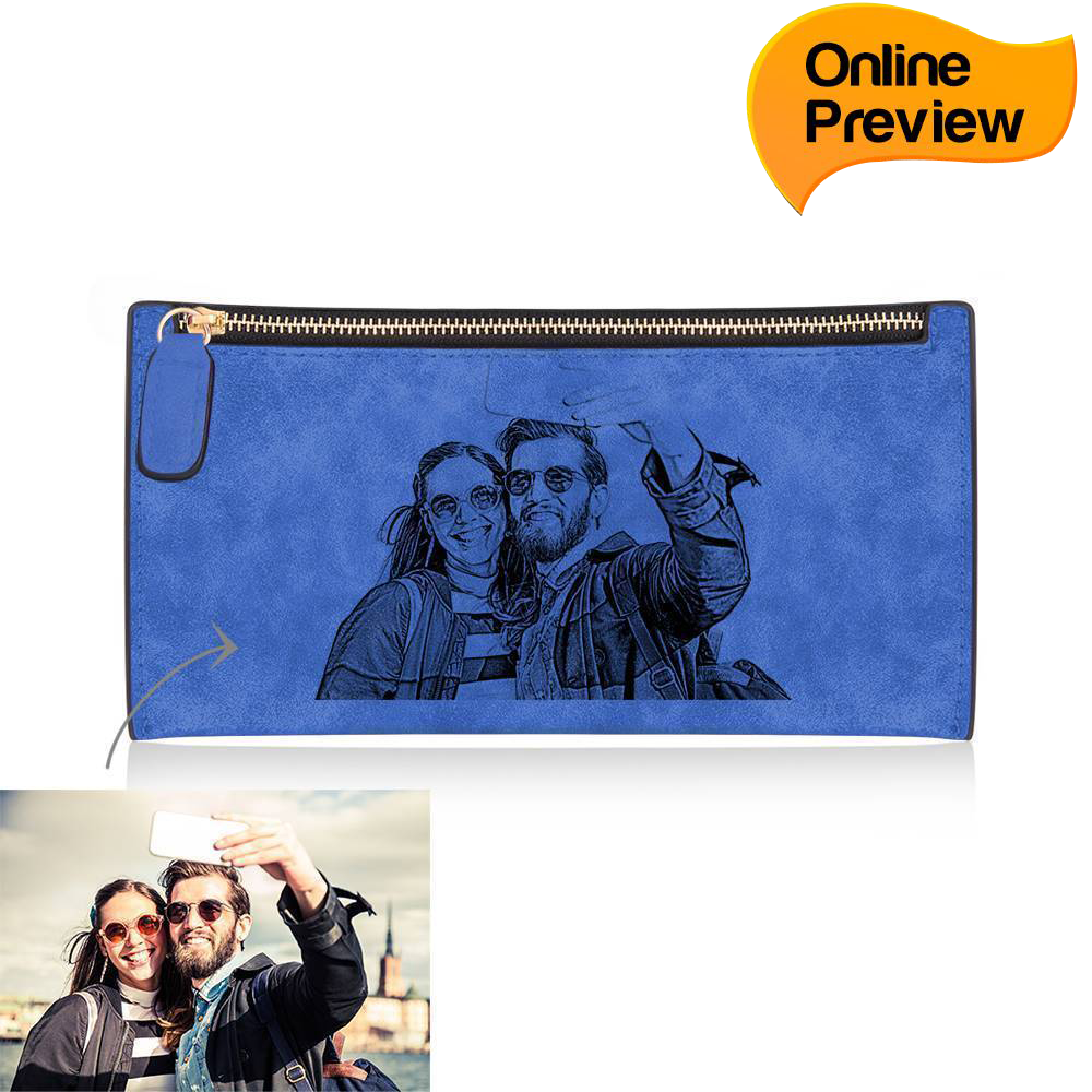 Women's Custom Inscription Photo Engraved Zipper Wallet - Blue Leather (Design Online & Preview)