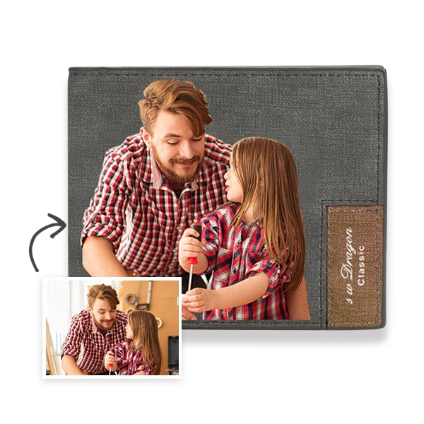 Men's Bifold Short Custom Photo Wallet Grey Color Printing