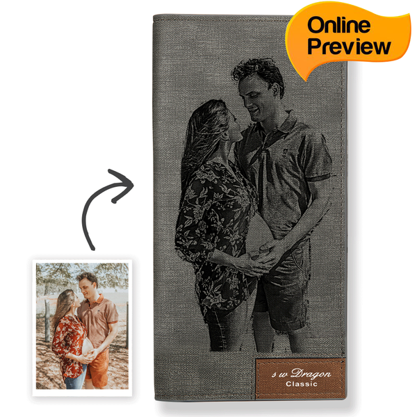 Women's Custom Photo Wallet Grey (Design Online & Preview)