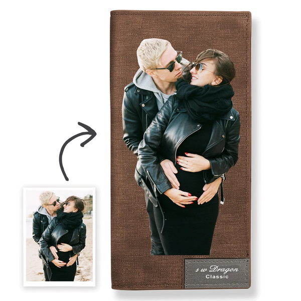 Women's Long Custom Photo Wallet Brown Color Printing