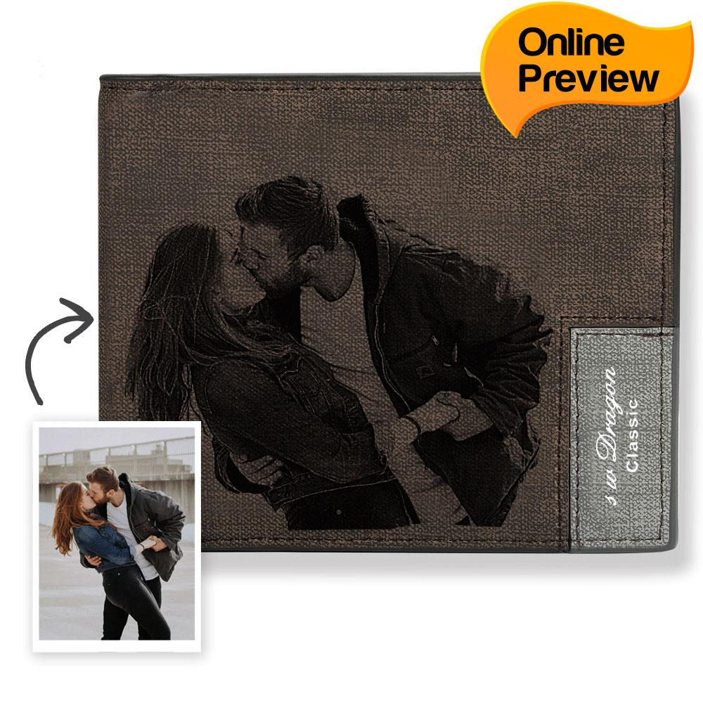 Men's Bifold Short Custom Photo Wallet – Brown (Design Online & Preview)