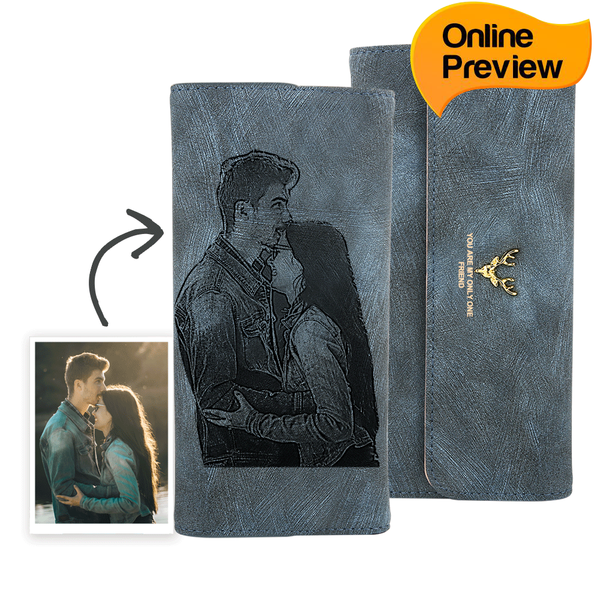Women's Trifold Custom Photo Wallet - Blue Leather (Design Online & Preview)