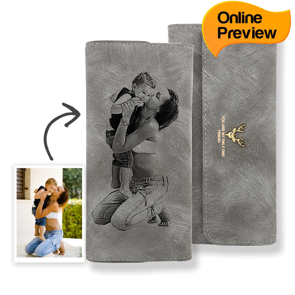 Women's Trifold Custom Photo Wallet - Grey Leather (Design Online & Preview)
