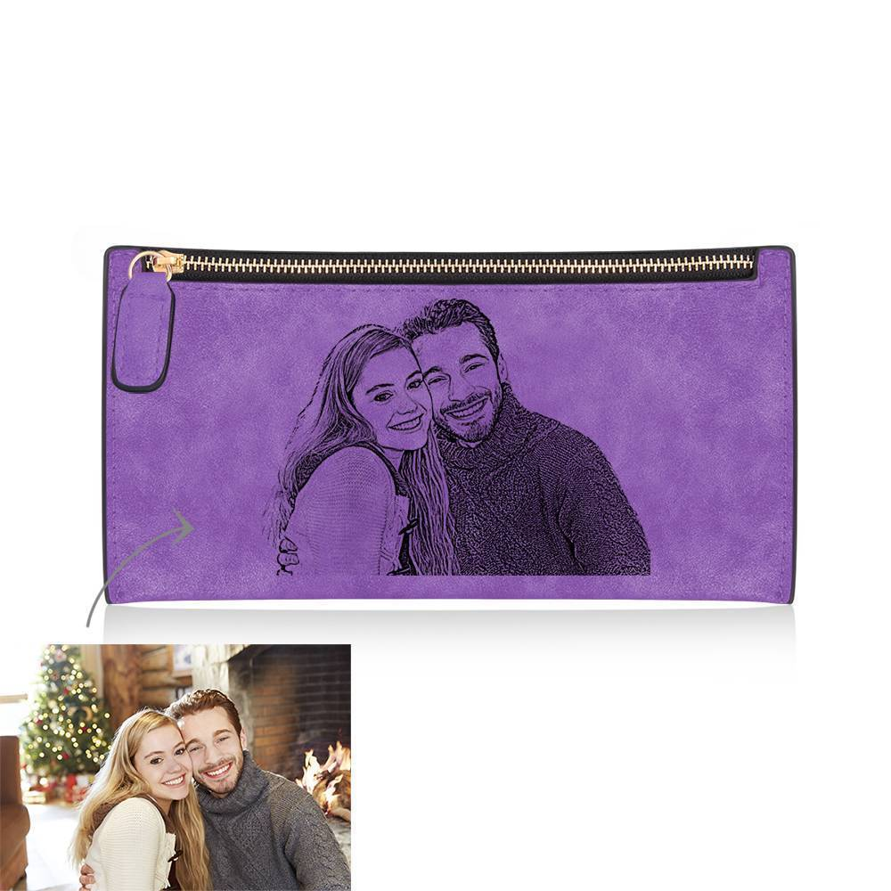 Women's Custom Inscription Photo Engraved Zipper Wallet - Purple Leather