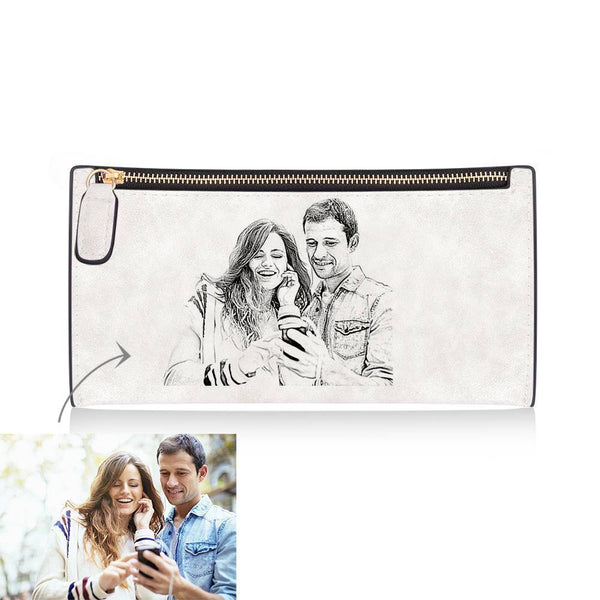 Women's Custom Inscription Photo Engraved Zipper Wallet - White Leather