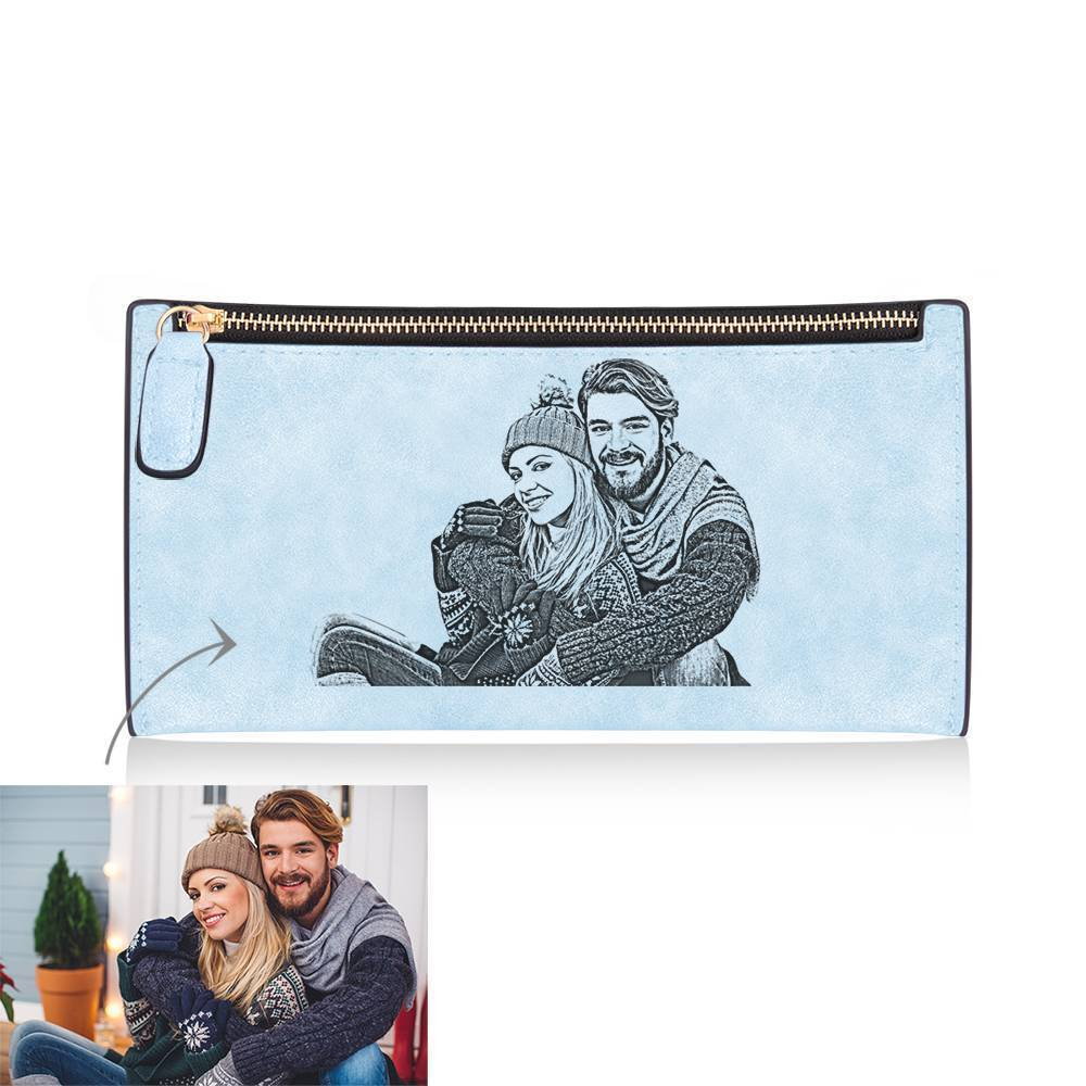 Women's Custom Inscription Photo Engraved Zipper Wallet - Light Blue Leather