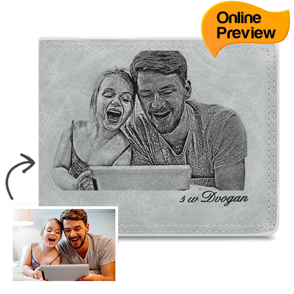 Men's Custom Photo Wallet - I'm Glad To Accompany My Father (Design Online & Preview)