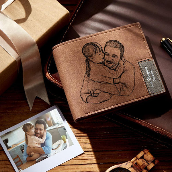 Men's Custom Photo Engraved Wallet | Father's Day Gift