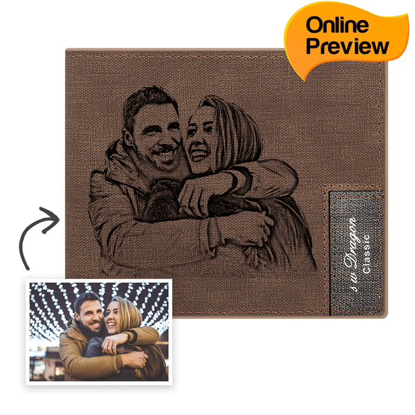 Men's Bifold Custom Photo Wallet Brown (Design Online & Preview)