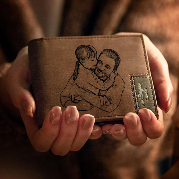 Men's Custom Photo Engraved Wallet | Best Father's Day Gift