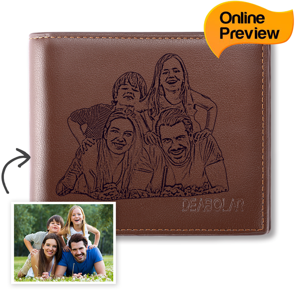 Men's Trifold Custom Photo Wallet - Brown (Design Online & Preview)
