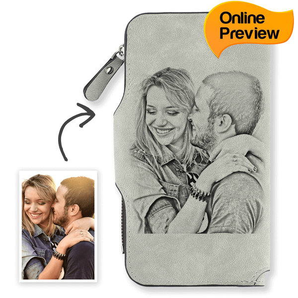 Women's Long Style Custom Photo Wallet Grey (Design Online & Preview)