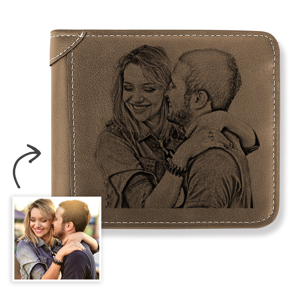 Men's Custom Engraved Photo Wallet Brown Leather