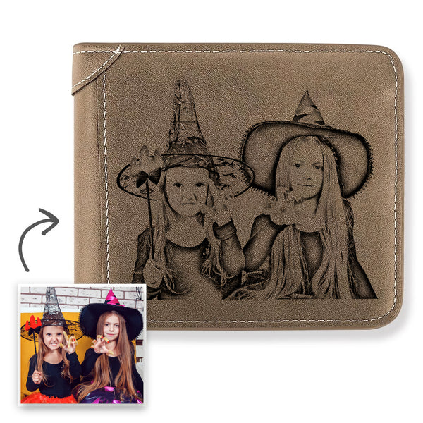 Halloween Gift | Men's Custom Engraved Photo Wallet Brown Leather