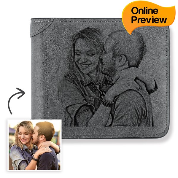 Men's Custom Engraved Photo Wallet Grey Leather (Design Online & Preview)