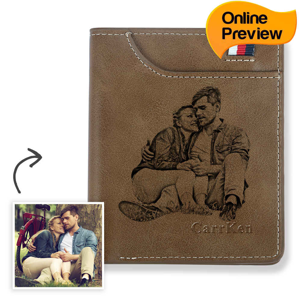 Men's Personalized Engraved Photo Wallet Brown Leather (Design Online & Preview)