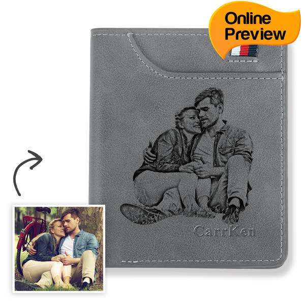 Men's Personalized Engraved Photo Wallet Grey Leather (Design Online & Preview)
