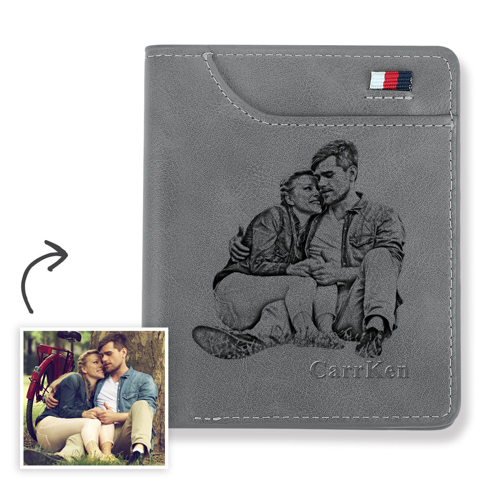 Men's Personalized Engraved Photo Wallet Grey Leather