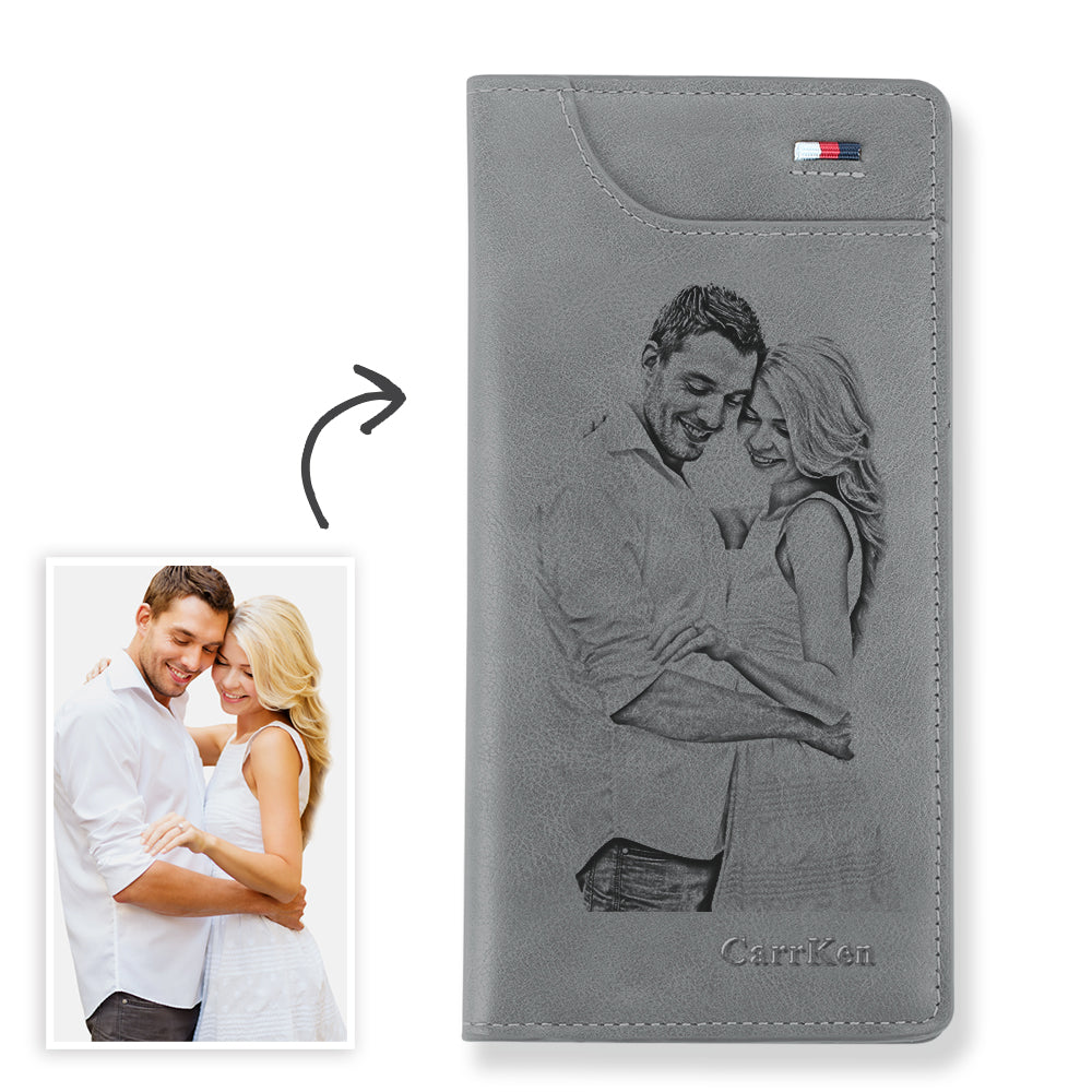 Women's Custom Engraved Photo Wallet Grey Leather