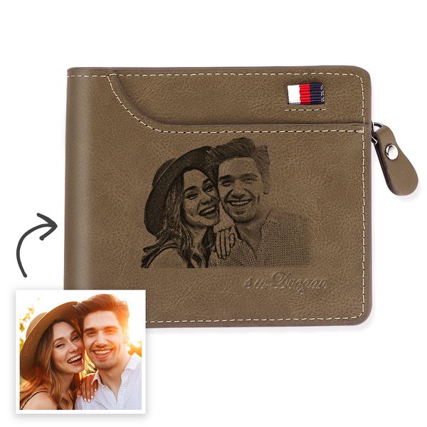 Men's Custom Engraved Photo Wallet Brown Leather With Coin Pocket