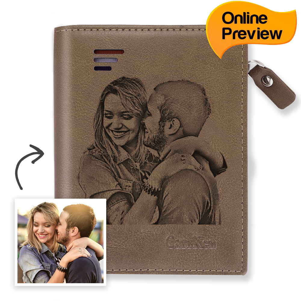 Men's Custom Engraved Photo Wallet Brown Leather (Design Online & Preview)
