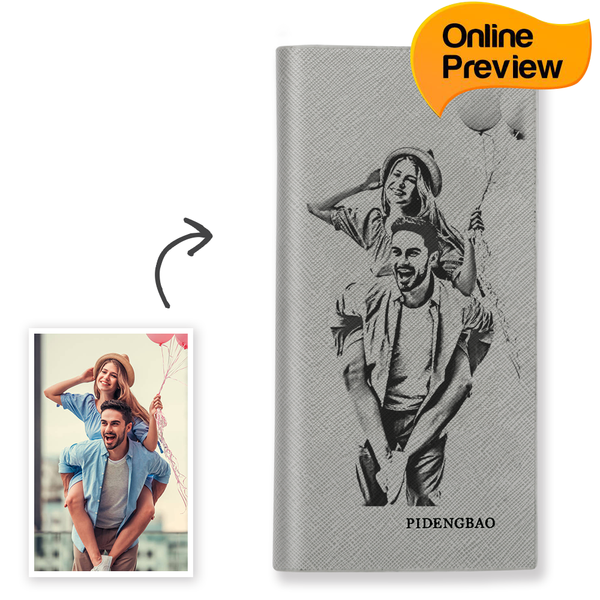 Women's Custom Engraved Photo Wallet Grey Leather (Design Online & Preview)