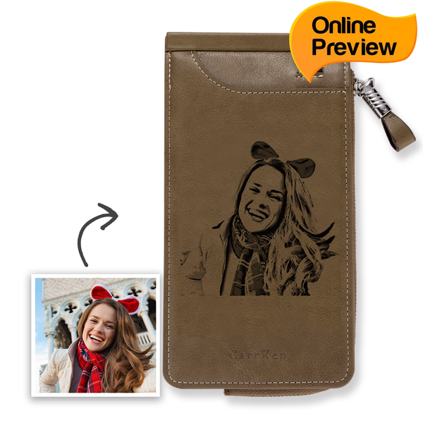 Custom Engraved Photo Wallet Card Holder Brown Leather (Design Online & Preview)