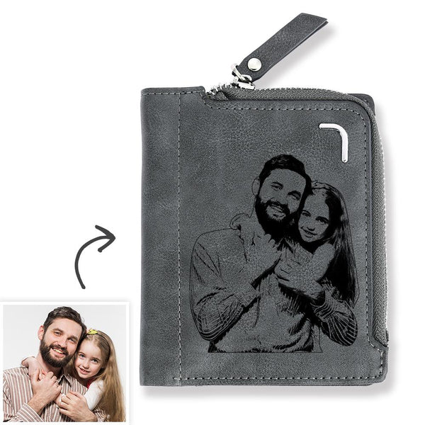 Men's Custom Photo Engraved Bifold Zipper Wallet For Best Daddy - Grey