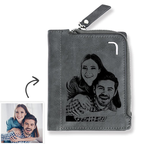 Men's Custom Photo Engraved Bifold Zipper Wallet - Grey