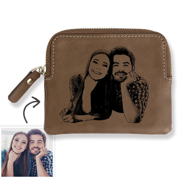 Custom Photo Engraved Zipper Wallet Coin Purse Card Case Brown Leather