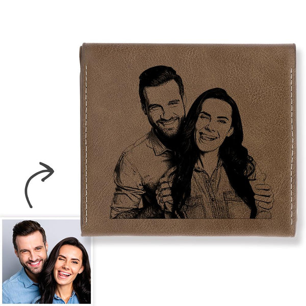 Custom Photo Engraved Wallet Coin Purse Brown Leather