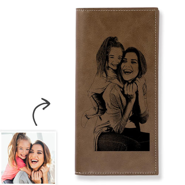 Women's Custom Photo Engraved Long Wallet Brown Leather