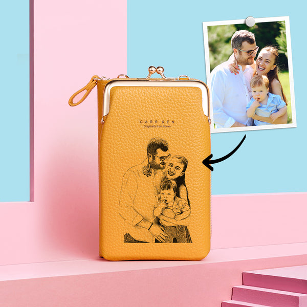Women's Custom Photo Engraved Crossbody Bag Phone Bag