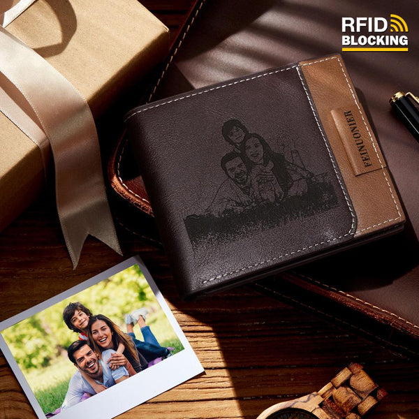Men's Custom Photo Engraved Wallet RFID Blocking Wallet