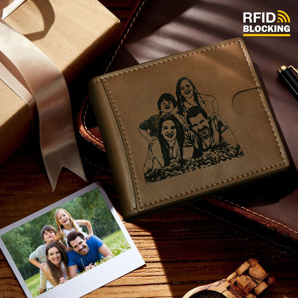 Men's Custom Photo Engraved Wallet RFID Blocking Money Clips Brown